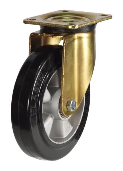 GDH Series; Heavy duty steel, black rubber wheel castor