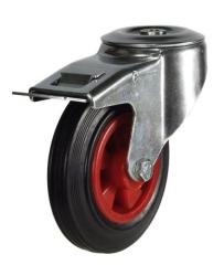 M12 Bolt Hole Braked castor 125mm wheel diameter upto 100kg capacity