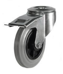 M12 Bolt Hole Braked castor 200mm wheel diameter upto 205kg capacity