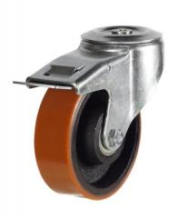 M12 Bolt Hole Braked castor 125mm wheel diameter upto 270kg capacity