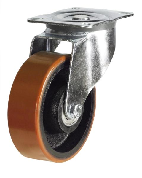 DRH Series;Heavy Duty Pressed Steel /Poly Cast Wheel Castors - 100mm/125mm
