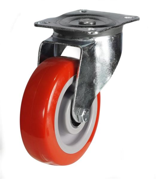 DRH Series; Heavy Duty Pressed Steel/Poly Nylon Wheel castor - 100mm/125mm