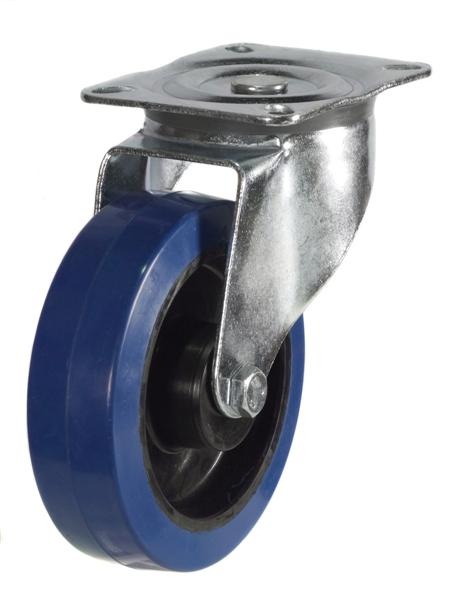 DRH Series; Heavy Duty Pressed Steel Bracket/Blue Elastic Rubber castor 100mm/125mm