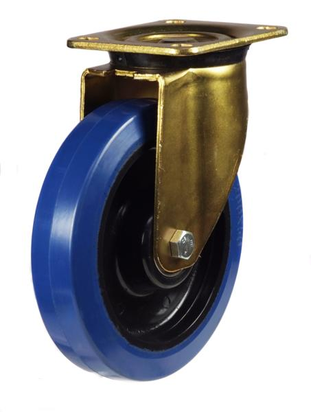 GDH Series; Heavy Duty Pressed Steel Bracket/Blue Elastic Rubber castor 160mm/200mm